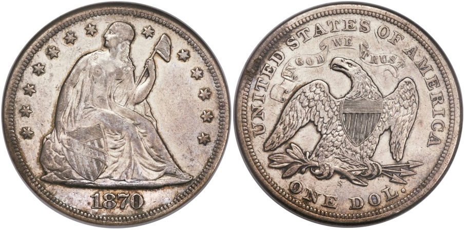 Liberty Seated Dollars 1870 S