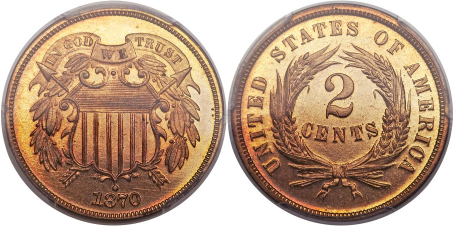Proof Two Cents 1870 RD