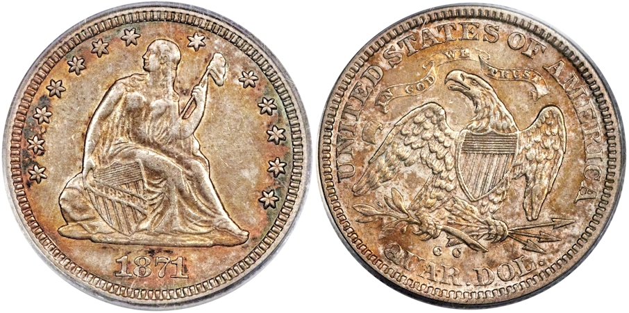 Liberty Seated Quarters 1871 CC