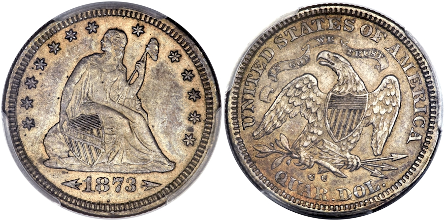Liberty Seated Quarters 1873 CC Arrows