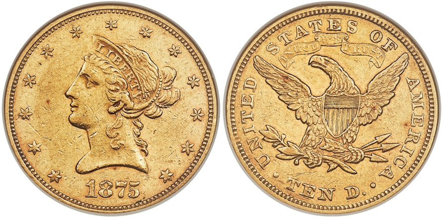 $10 Gold 1875