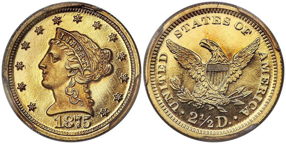 1875 $2½ Gold PCGS PR65+ Deep Cameo