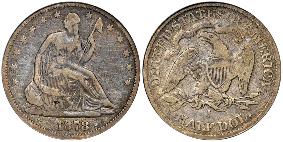 1878 S Seated Half Dollar PCGS F15