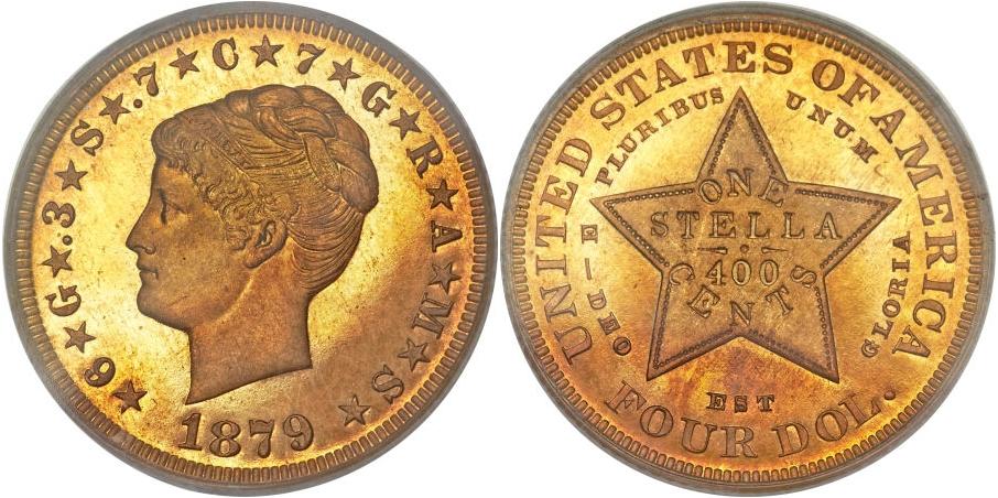 $4 Gold Stellas 1879 Coiled Hair