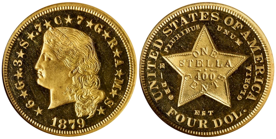 1879 $4 Gold Stella Flowing Hair NGC PR65 Ultra Cameo