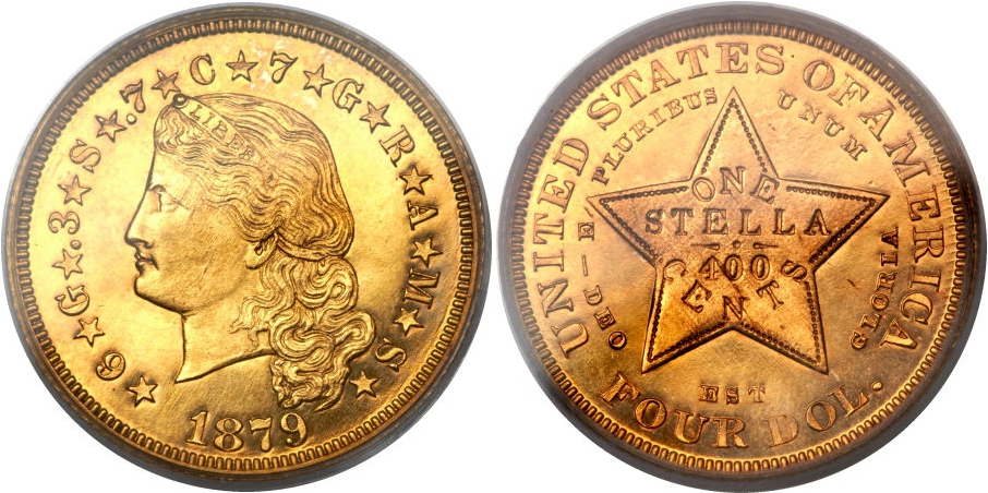 $4 Gold Stellas 1879 Flowing Deep Cameo