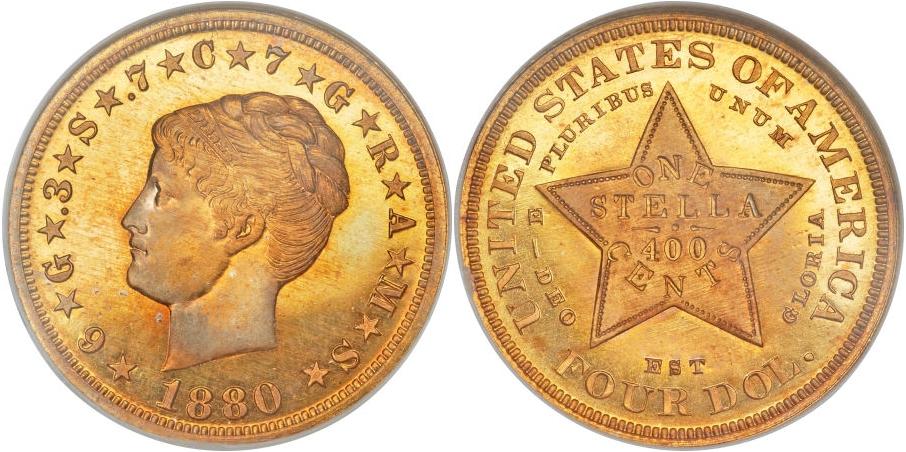 $4 Gold Stellas 1880 Coiled Hair