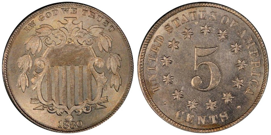 Shield Nickels 1880