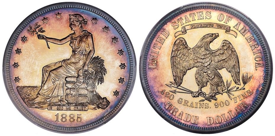 1885 Trade Dollar PCGS PR63+ Cameo CAC