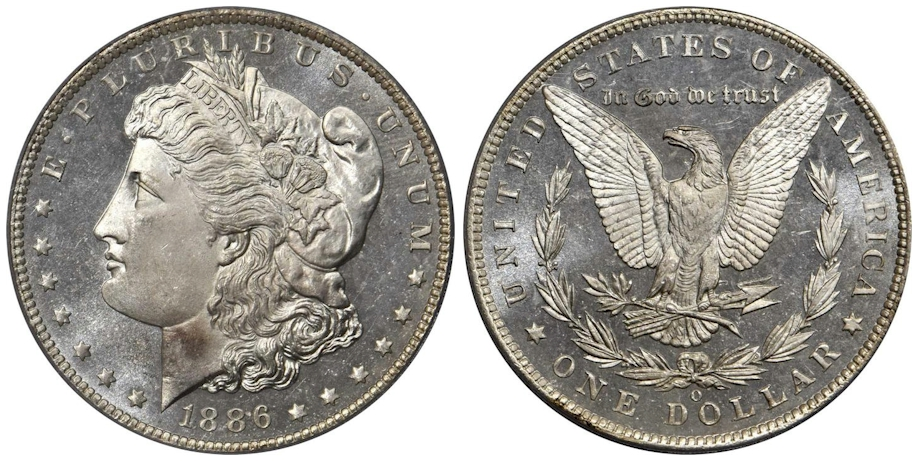 1886 O Morgan Dollar PCGS MS67 DMPL CAC