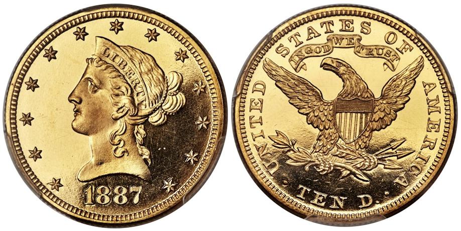 1887 $10 Gold PCGS PR64 Deep Cameo CAC