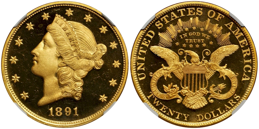 Proof $20 Gold 1891 Deep Cameo