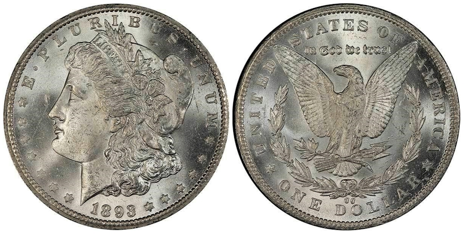 1893 CC Morgan Dollar PCGS MS65 CAC