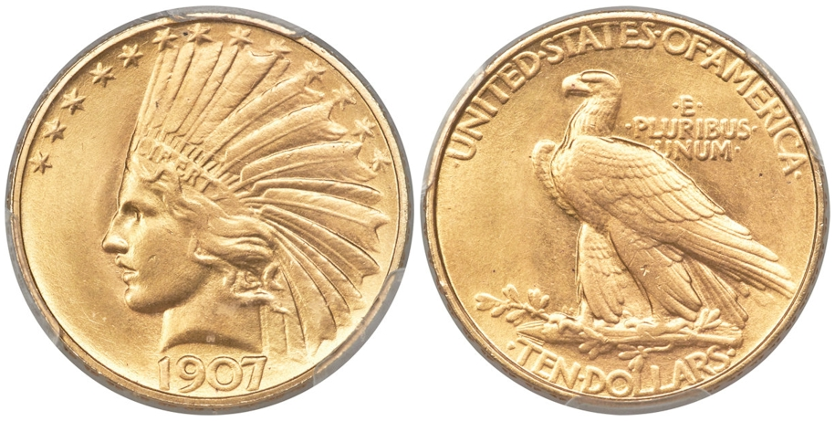 1907 $10 Gold Indian Rolled Edge PCGS MS65