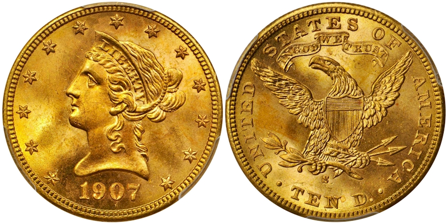 1907 S $10 Gold PCGS MS66+ CAC