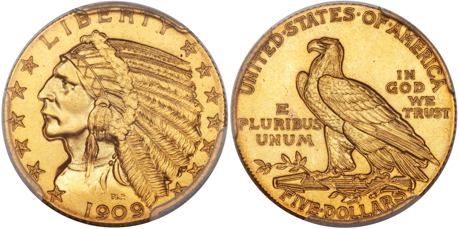 $5 Gold Indians 1909 Proof