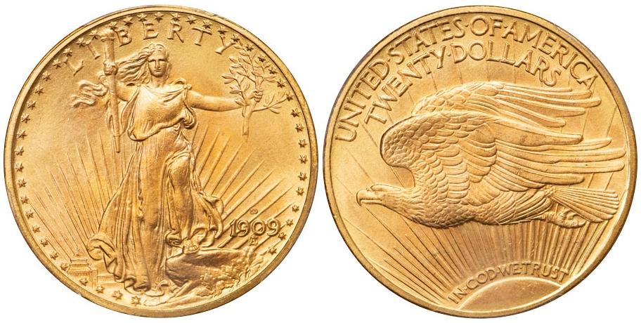 $20 St. Gaudens 1909 D