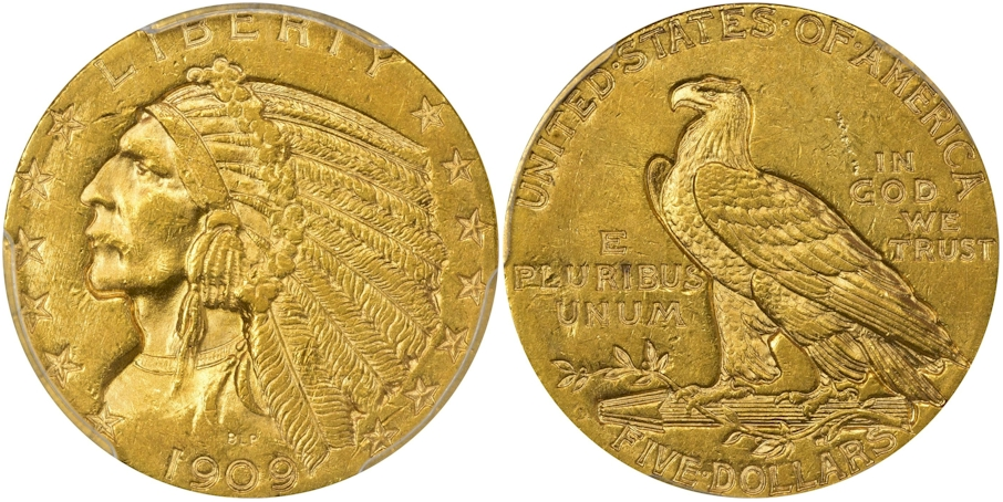 $5 Gold Indians 1909 O