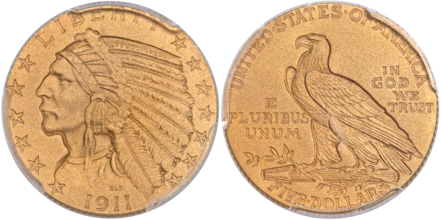 $5 Gold Indians 1911 Proof