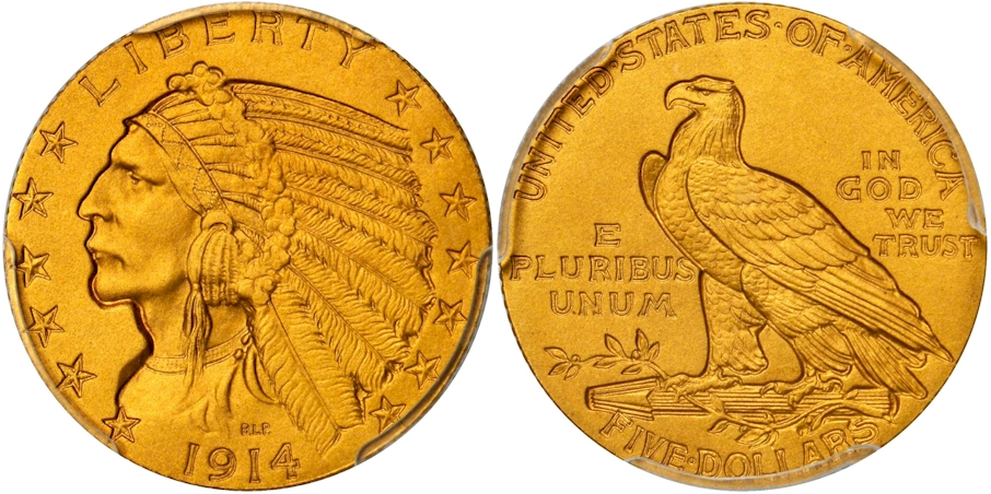 $5 Gold Indians 1914 Proof