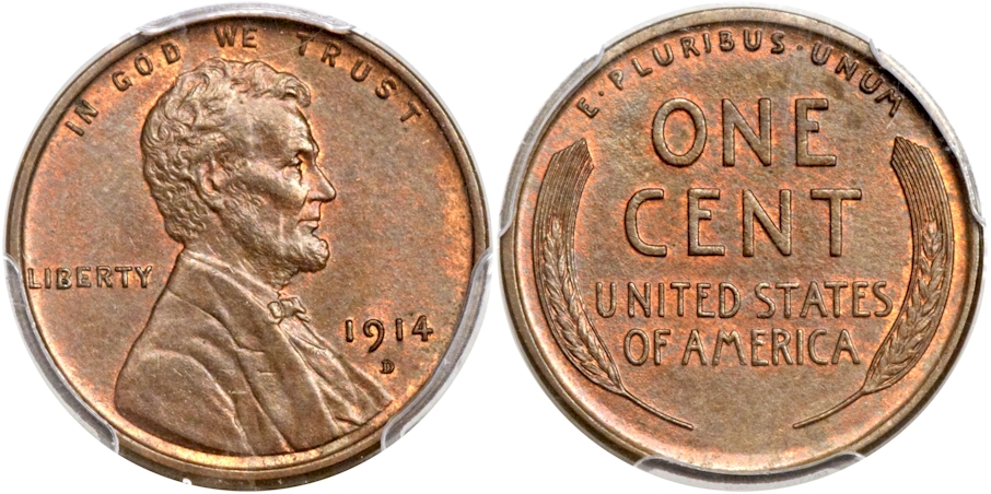 Lincoln Cents 1914 D BN