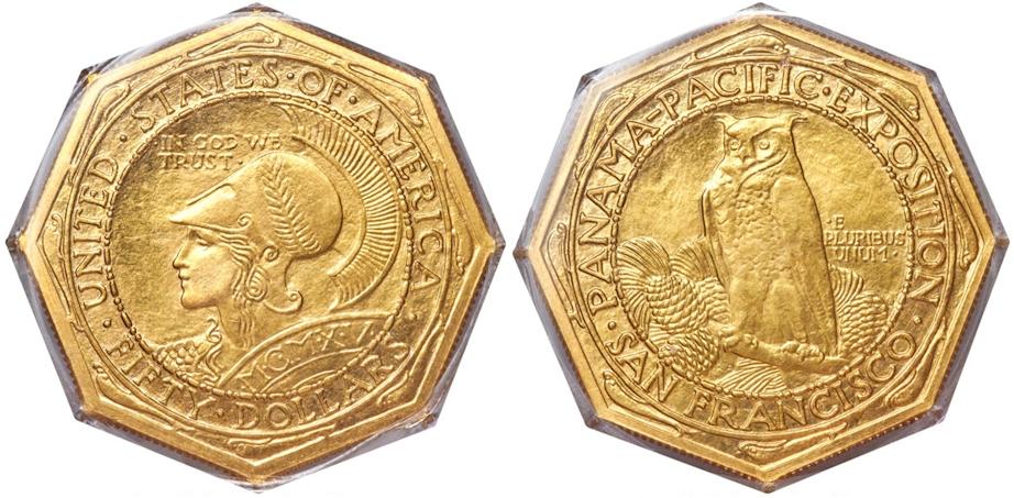 1915 S $50 Panama Pacific Octagonal MS63 PCGS