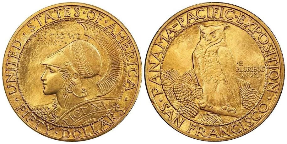 1915 S $50 Gold Commemorative Panama Pacific Round PCGS MS64 CAC