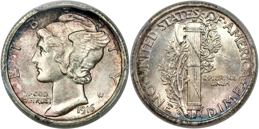 Full Band Mercury Dimes 1916 D
