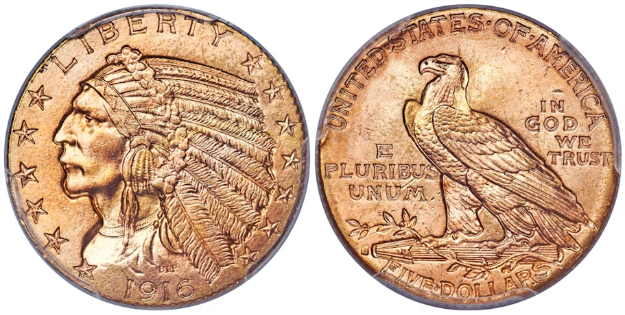 1916 S $5 Gold Indian PCGS MS66