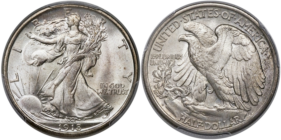 Walking Liberty Half Dollars 1918 D
