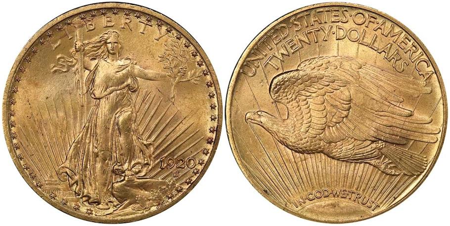$20 St. Gaudens 1920