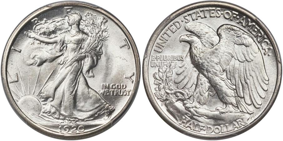 Walking Liberty Half Dollars 1920 D