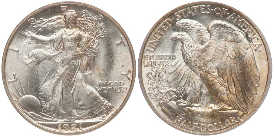 1921 S Walking Liberty Half Dollar PCGS MS65 CAC