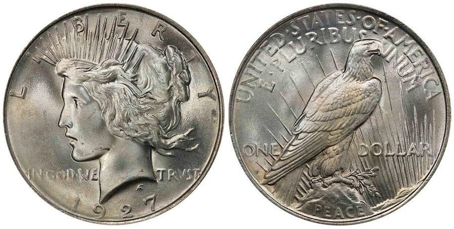1927 D Peace Dollar PCGS MS66+ CAC