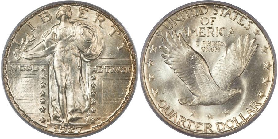 Full Head Standing Liberty Quarters 1927 S
