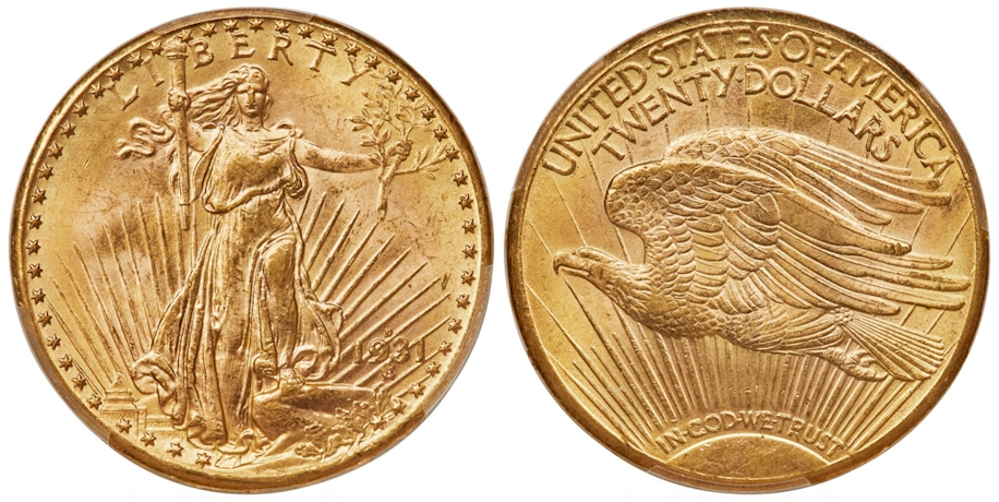 1931 D $20 Gold St Gaudens PCGS MS64 CAC