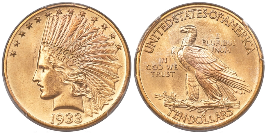 1933 $10 Gold Indian MS65 PCGS