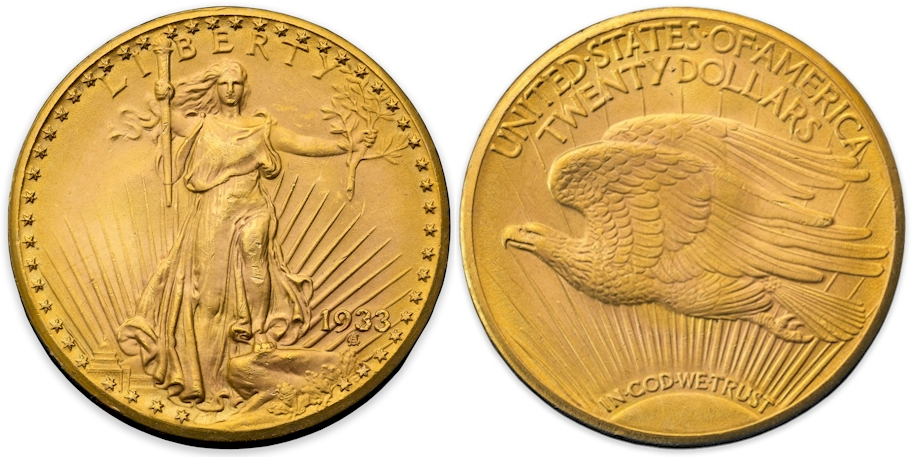 1933 $20 Gold Saint Gaudens previously certified as PCGS MS65 CAC