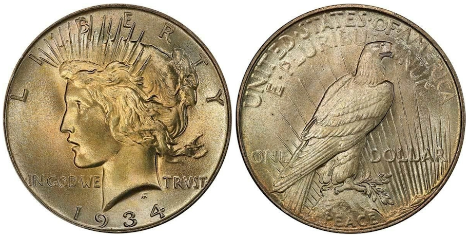 1934 Peace Dollar PCGS MS67 CAC