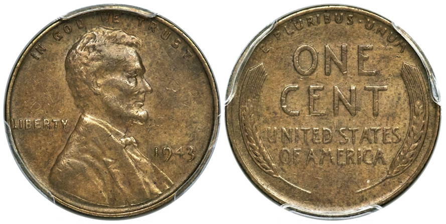 1943 Lincoln Cent Struck on a Bronze Planchet PCGS XF45