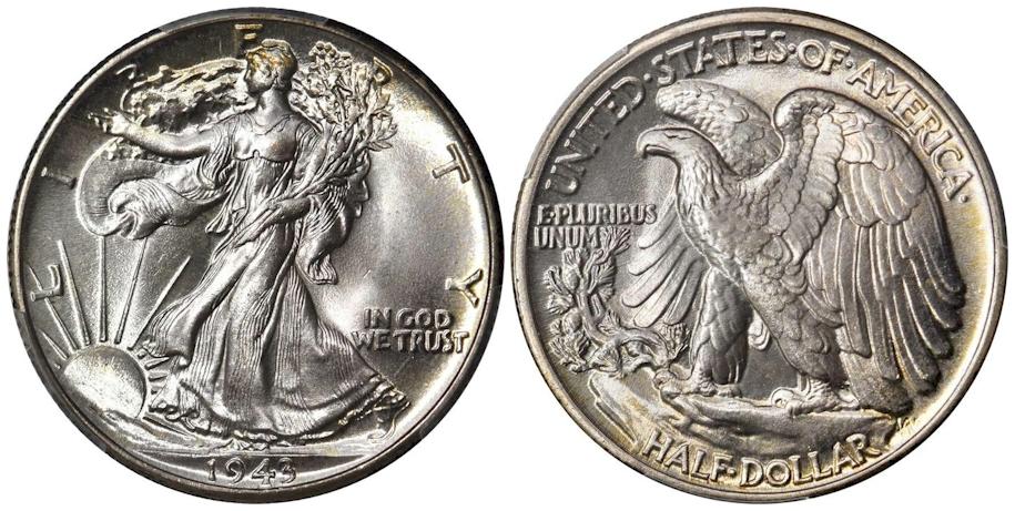 1943 Walking Liberty Half Dollar PCGS MS68+ CAC