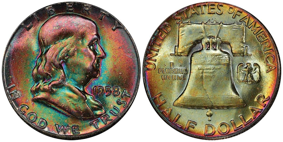 1958 Franklin Half Dollar PCGS MS67+ FBL CAC