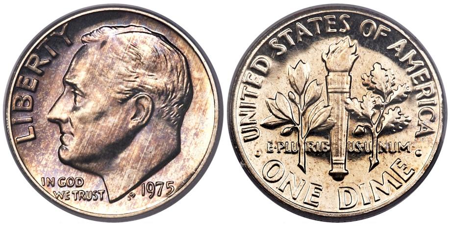 1975 No S Roosevelt Dime PCGS PR68