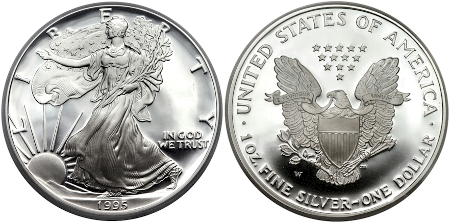 Modern Eagles 1995 W Silver Dollar PR Deep Cameo