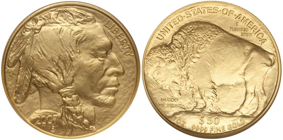 Modern Buffaloes 2007 Buffalo $50 Gold BU