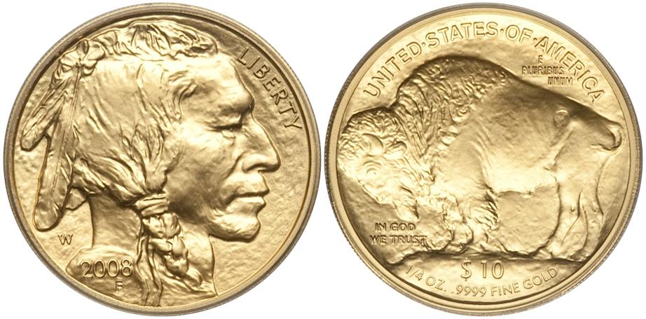 Modern Buffaloes 2008 W Buffalo $10 Gold BU