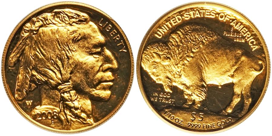 Modern Buffaloes 2008 W Buffalo $5 Gold PR Deep Cameo