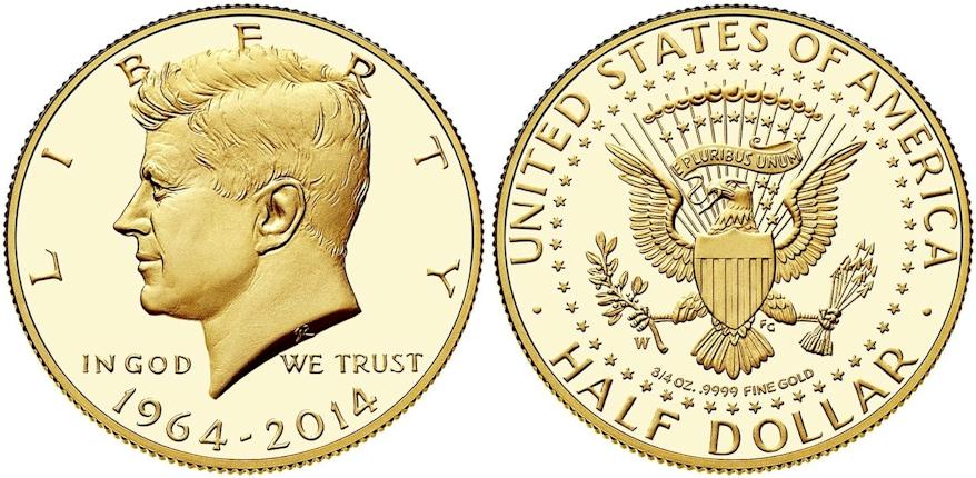 Kennedy Half Dollars 1964 - 2014 W Gold PR Deep Cameo