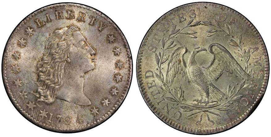 Early Dollars 1794 Flowing Hair