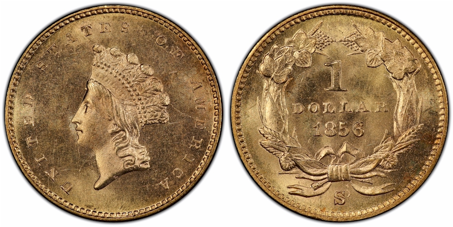 1856 S $1 Gold PCGS MS65+ from the SS Central America